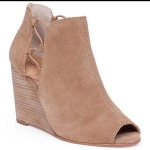 Lucky Brand Suede Open Toe Booties 9